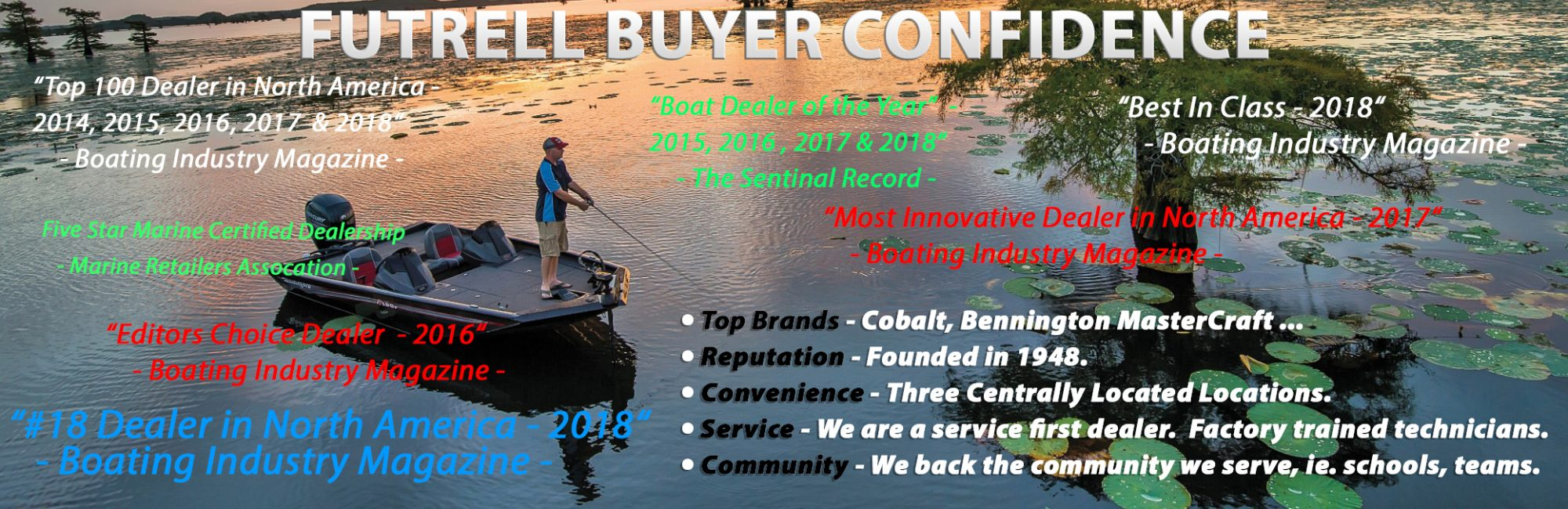 Futrell Buyer Confidence - top brands; reputation, convenience, service, community; top 100 dealer; best in class; boat dealer of the year; editors choice dealer