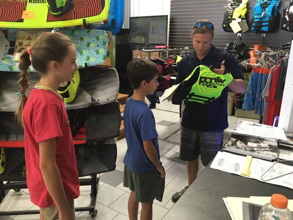 Fitting with Life Jackets to learn to surf